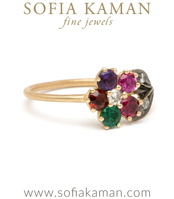 Colored Gem Flower Ring