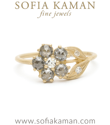 Salt and Pepper Diamond Vintage Inspired Bohemian Flower Ring designed by Sofia Kaman handmade in Los Angeles