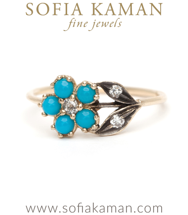 14K Gold Antique Inspired One of a Kind Flower Turquoise Bohemian Engagement Ring designed by Sofia Kaman handmade in Los Angeles using our SKFJ ethical jewelry process.