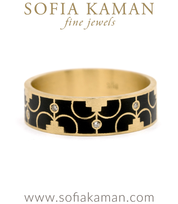 18K Gold Black Enamel Diamond Accent Compass Mandala Stacking Band designed by Sofia Kaman handmade in Los Angeles