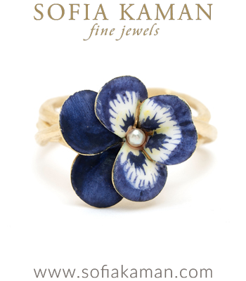 14K Matte Gold Woven Branches Vintage Enamel Pansy Flower Bohemian Ring designed by Sofia Kaman handmade in Los Angeles
