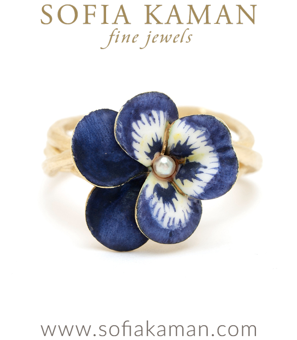 14K Matte Gold Woven Branches Vintage Enamel Pansy Flower Bohemian Ring designed by Sofia Kaman handmade in Los Angeles using our SKFJ ethical jewelry process.