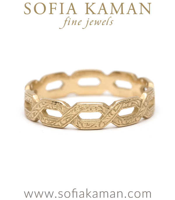 Victorian Antique Inspired 14K Gold Woven Ivy Bohemian Wedding Band designed by Sofia Kaman handmade in Los Angeles using our SKFJ ethical jewelry process.
