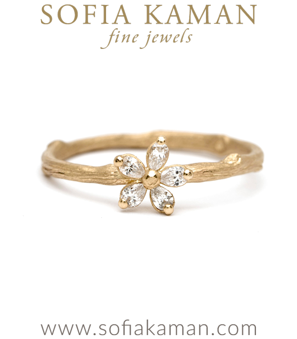 Nature Inspired Pear Shaped Diamond Daisy Twig Band Boho Stacking Ring made in Los Angeles