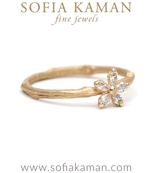 Twig Band Pear Shape Diamond Daisy Boho Stacking Ring