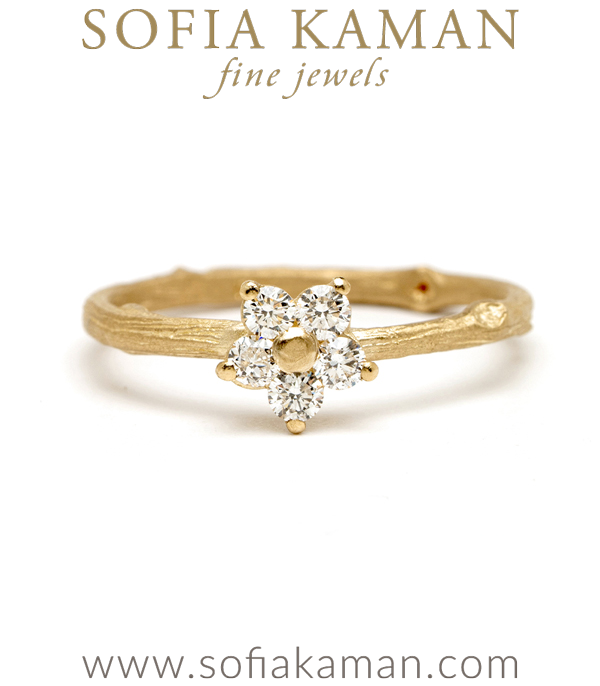 Rounded Diamond Daisy Gold Band Twig Engagement Ring designed by Sofia Kaman handmade in Los Angeles using our SKFJ ethical jewelry process.