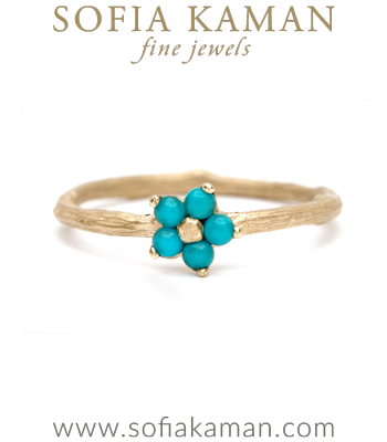 Nature Inspired Twig Band Turquoise Forget Me Not Flower Boho Stacking Ring made in Los Angeles