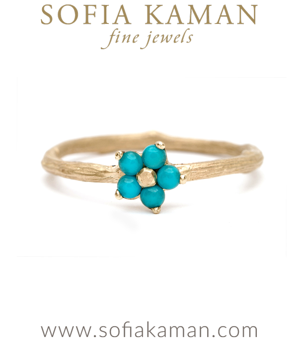 Nature Inspired Twig Band Turquoise Forget Me Not Flower Boho Stacking Ring designed by Sofia Kaman handmade in Los Angeles