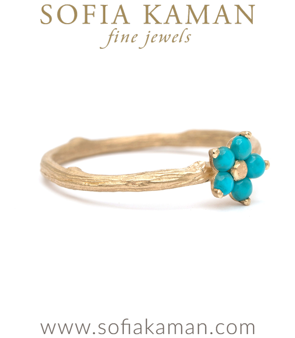 14k Matte Gold Twig Band Turquoise Daisy Boho Stacking Ring