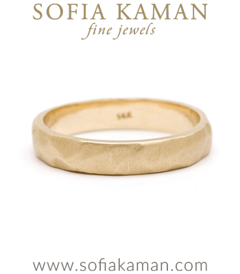 Natural Organic Masculine Raw 4.5mm Textured Gold Mens Wedding Band designed by Sofia Kaman handmade in Los Angeles