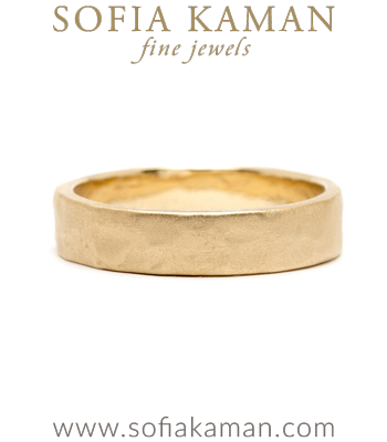 14K 5mm Gold Raw Textured Wedding Band For Men designed by Sofia Kaman handmade in Los Angeles