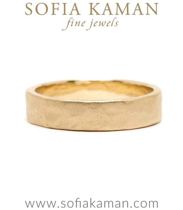 14K 5mm Gold Raw Textured Wedding Band For Men designed by Sofia Kaman handmade in Los Angeles using our SKFJ ethical jewelry process.