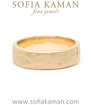 Natural Organic Masculine Raw 6mm Textured Gold Mens Wedding Band designed by Sofia Kaman handmade in Los Angeles