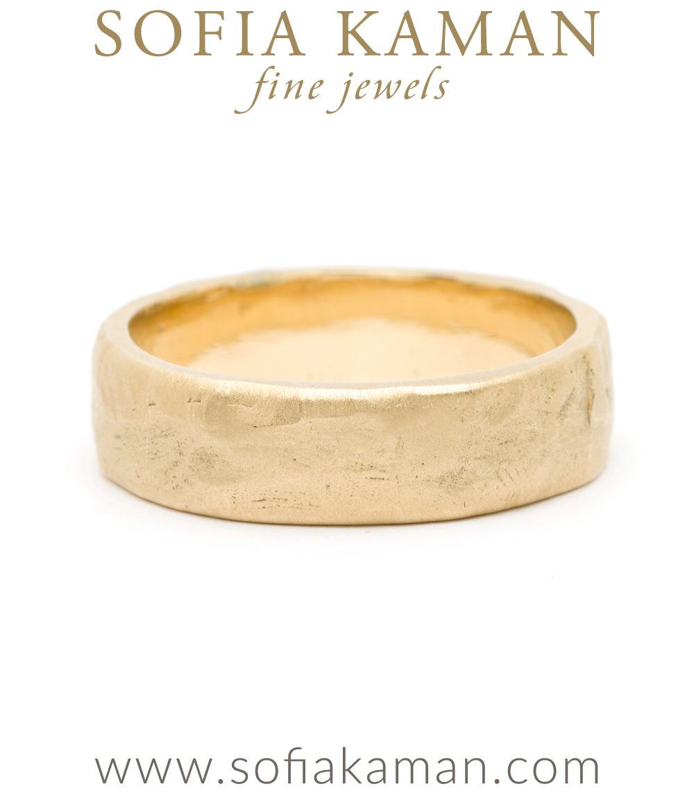 Natural Organic Masculine Raw 6mm Textured Gold Mens Wedding Band designed by Sofia Kaman handmade in Los Angeles using our SKFJ ethical jewelry process.