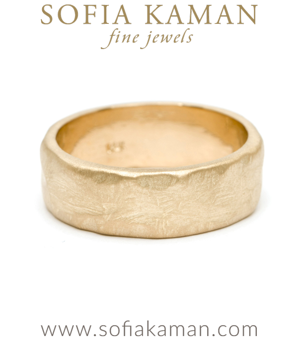 Natural Organic Masculine Raw 7mm Textured Gold Mens Wedding Band designed by Sofia Kaman handmade in Los Angeles using our SKFJ ethical jewelry process.