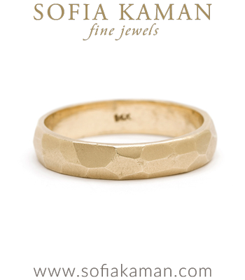 Bold Masculine Unique 4.5mm Gold Faceted Mens Wedding Band designed by Sofia Kaman handmade in Los Angeles