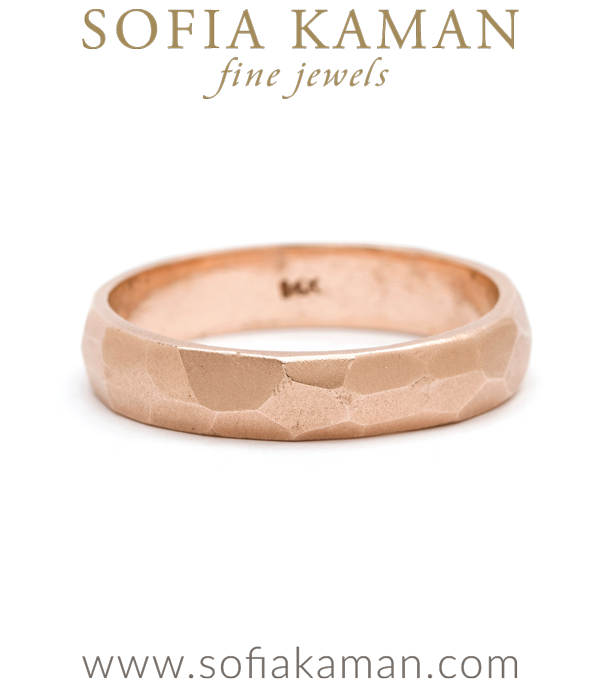 4.5mm Rose Gold Faceted Mens Wedding Band