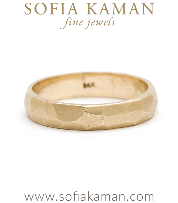 Bold Masculine 4.5mm Gold Faceted Mens Wedding Band designed by Sofia Kaman handmade in Los Angeles using our SKFJ ethical jewelry process.