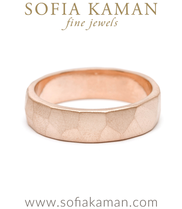 6mm Rose Gold Faceted Mens Wedding Band