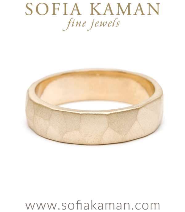Bold Masculine 6 Gold Faceted Mens Wedding Band designed by Sofia Kaman handmade in Los Angeles using our SKFJ ethical jewelry process.