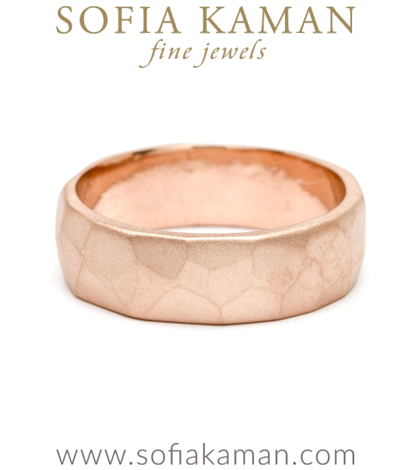 7mm Rose Gold Faceted Mens Wedding Band