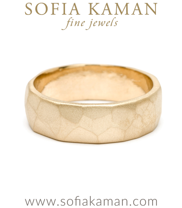 Bold Masculine Unique 7mm Gold Faceted Mens Wedding Band designed by Sofia Kaman handmade in Los Angeles using our SKFJ ethical jewelry process.