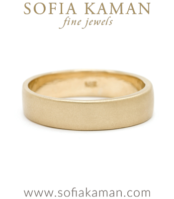 Gold Handmade Smooth Classic Masculine 5mm Mens Wedding Band by Sofia Kaman made in Los Angeles