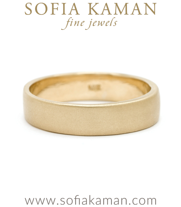 Gold Handmade Smooth Classic Masculine 5mm Mens Wedding Band designed by Sofia Kaman handmade in Los Angeles