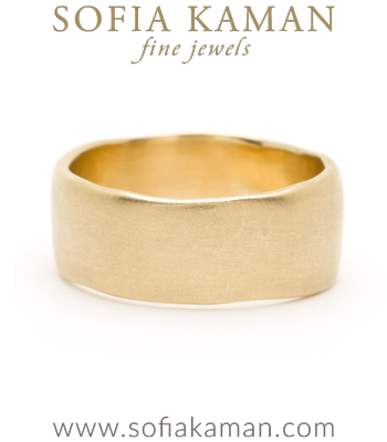 Gold Masculine 10mm Torn Paper Edge Organic Mens Wedding Band designed by Sofia Kaman handmade in Los Angeles