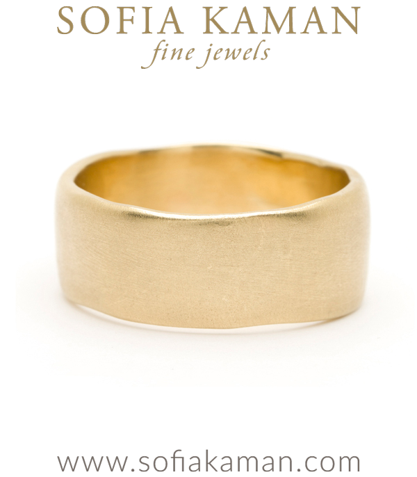 Gold Masculine 10mm Torn Paper Edge Organic Mens Wedding Band designed by Sofia Kaman handmade in Los Angeles using our SKFJ ethical jewelry process.