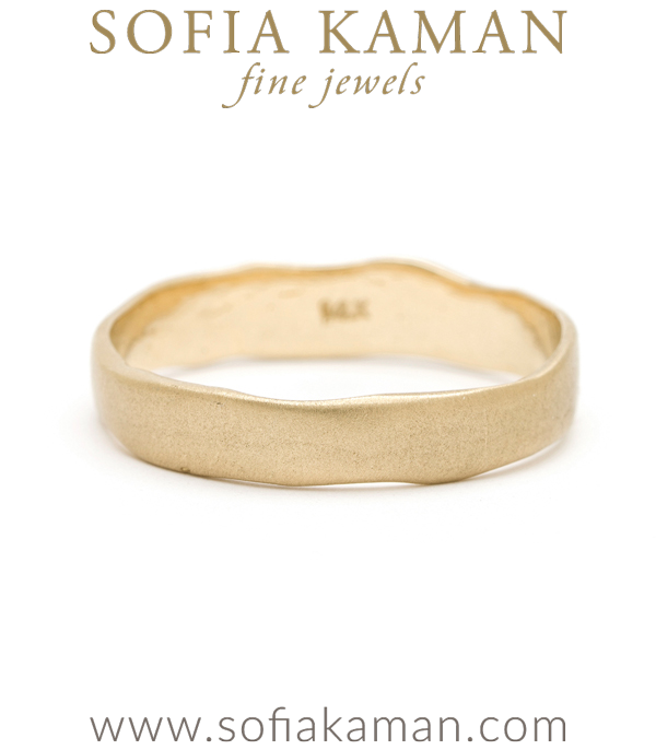 Gold Masculine 4mm Torn Paper Edge Organic Mens Wedding Band designed by Sofia Kaman handmade in Los Angeles using our SKFJ ethical jewelry process.