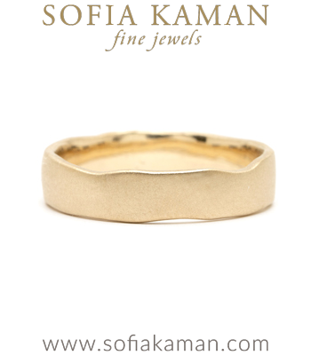 Gold Masculine 5mm Torn Paper Edge Organic Mens Wedding Band designed by Sofia Kaman handmade in Los Angeles
