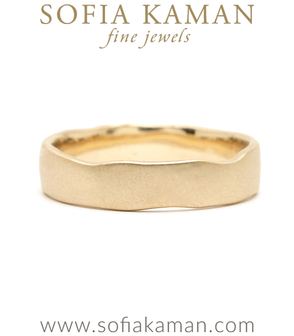 14K Gold Torn Paper Edge Mens 5mm Wedding Band designed by Sofia Kaman handmade in Los Angeles using our SKFJ ethical jewelry process.