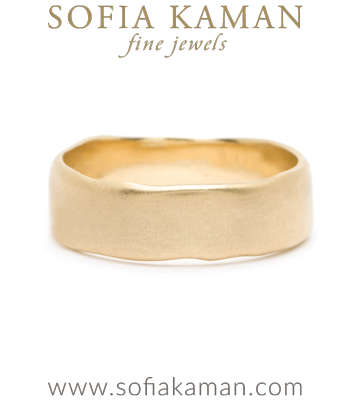 Gold Masculine 7mm Torn Paper Edge Organic Mens Wedding Band designed by Sofia Kaman handmade in Los Angeles