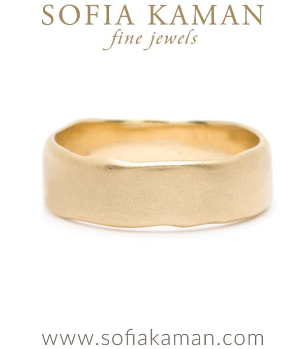 Gold Masculine 7mm Torn Paper Edge Organic Mens Wedding Band designed by Sofia Kaman handmade in Los Angeles using our SKFJ ethical jewelry process.