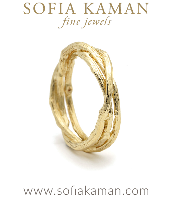 Natural Organic Gold Twig Woven Branches Mens Wedding Band designed by Sofia Kaman handmade in Los Angeles using our SKFJ ethical jewelry process.