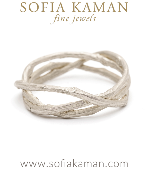White Gold Woven Branches Mens Wedding Band