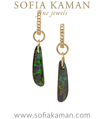 One of a Kind Boulder Opal Diamond Clasp Boho Dangle Earrings designed by Sofia Kaman handmade in Los Angeles