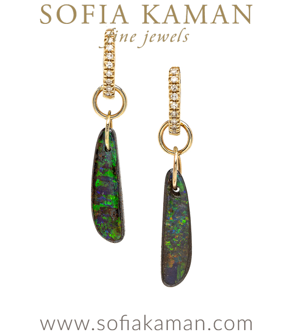 One of a Kind Boulder Opal Diamond Clasp Boho Dangle Earrings designed by Sofia Kaman handmade in Los Angeles using our SKFJ ethical jewelry process. This piece has been sold and is in the SK Archive.
