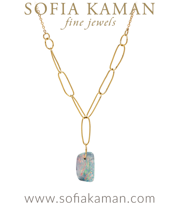 One of a Kind Australian Boulder Opal Hand Made Paperclip Gold Chain Necklace designed by Sofia Kaman handmade in Los Angeles using our SKFJ ethical jewelry process. This piece has been sold and is in the SK Archive.