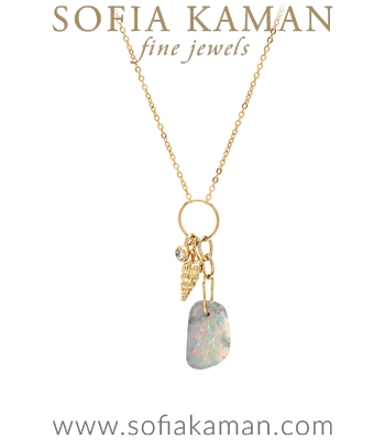 Boulder Opal Seashell Diamond Pod Mini Charm Boho Necklace designed by Sofia Kaman handmade in Los Angeles