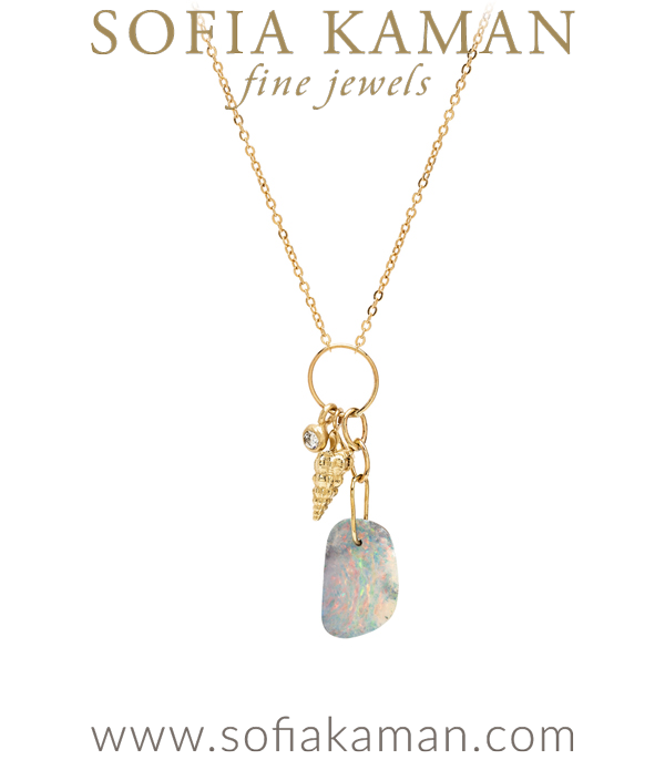 Boulder Opal Seashell Diamond Pod Mini Charm Boho Necklace designed by Sofia Kaman handmade in Los Angeles using our SKFJ ethical jewelry process. This piece has been sold and is in the SK Archive.