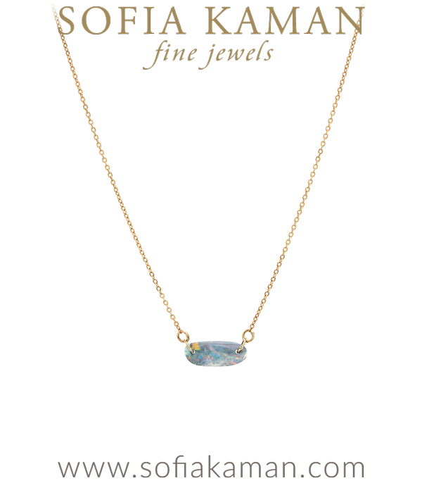 One of a Kind Australian Boulder Opal Bar Boho Necklace designed by Sofia Kaman handmade in Los Angeles using our SKFJ ethical jewelry process. This piece has been sold and is in the SK Archive.