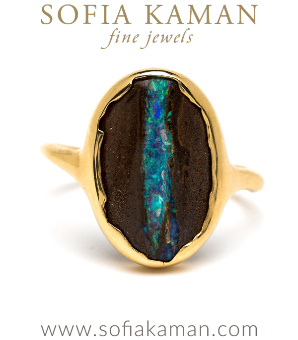 One of a Kind 22K Gold Boulder Opal Bohemian Statement Ring designed by Sofia Kaman handmade in Los Angeles using our SKFJ ethical jewelry process.