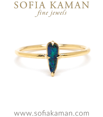 Beautiful Boulder Opal Bohemian Stacking Ring designed by Sofia Kaman handmade in Los Angeles