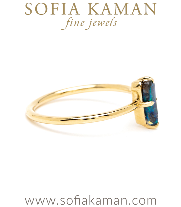 Petite Gold Boulder Opal Stacking Ring