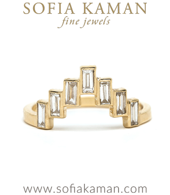 One of a Kind Diamond Baguette Ocean Inspired Bohemian Stacking Band designed by Sofia Kaman handmade in Los Angeles