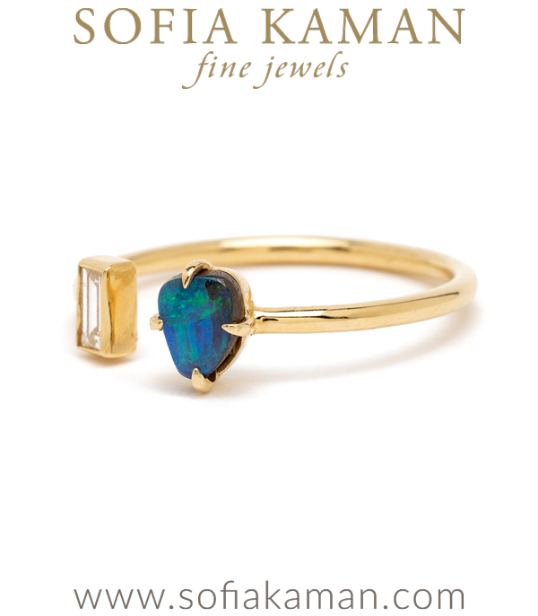 Boho Beach Inspired Gold Diamond Opal Ring