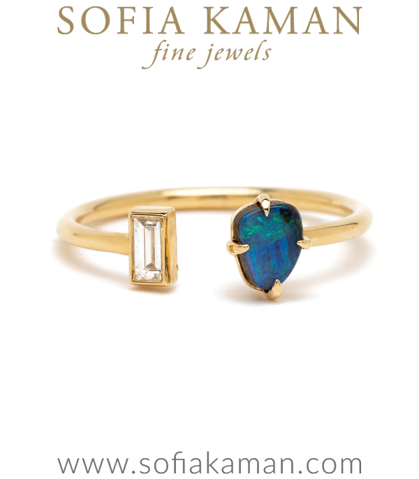 Gold Diamond Opal Ocean Beach Inspired Boho Adjustable Stacking Ring designed by Sofia Kaman handmade in Los Angeles using our SKFJ ethical jewelry process. This piece has been sold and is in the SK Archive.
