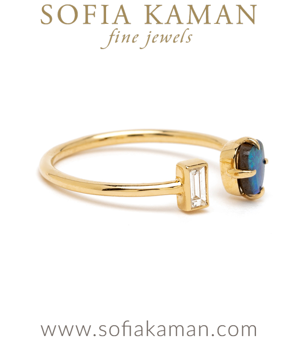 Ocean Inspired Gold Diamond Opal Ring